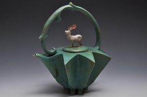 Handmade Porcelain Teapot | Green and Ivory Reindeer | Tricia Ree McGuigan | Fine Art Functional Ceramics