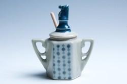Celadon and Sapphire Horse Honey Jar