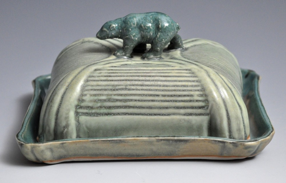 Teal and Lichen Bear Butter Dish | Tricia Ree McGuigan