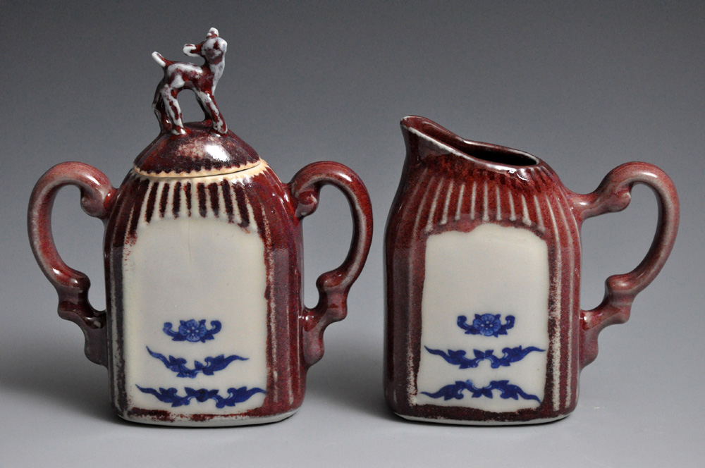 Red and Blue Fawn Cream and Sugar Set | Tricia Ree McGuigan
