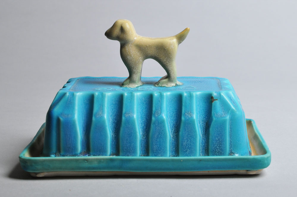 Blue and Yellow Dog Butter Dish | Tricia Ree McGuigan