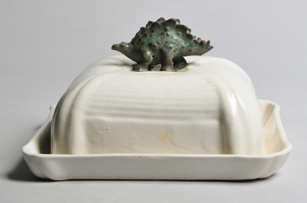 Ivory and Weathered Green Dinosaur Butter Dish | Tricia Ree McGuigan