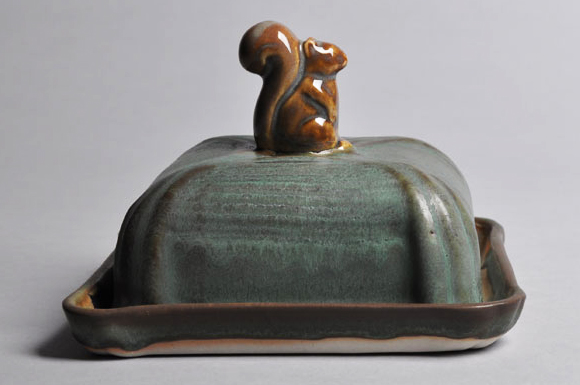 Green and Brown Squirrel Butter Dish | Tricia Ree McGuigan