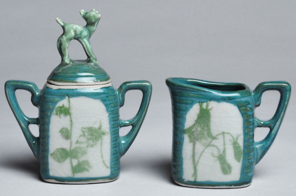 Teal and Green Fawn Cream and Sugar Set | Tricia Ree McGuigan