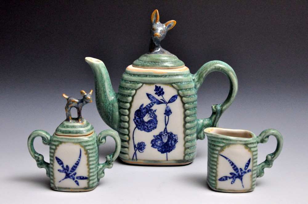 Green and Blue Deer Tea Set | Tricia Ree McGuigan