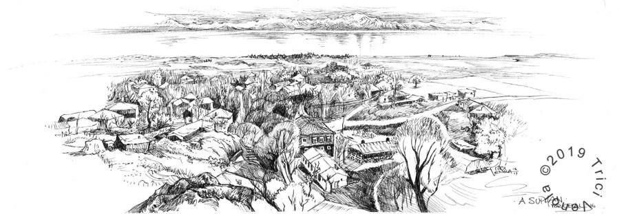 Plein air drawing of a village near A Suphan