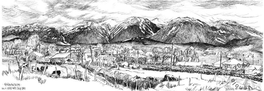 Plein air drawing of a remote village in Eastern Turkey