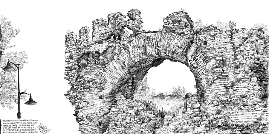 Plein air drawing of the Big Boukoleon Arch