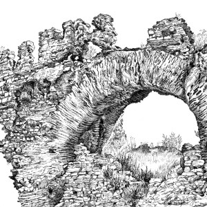 Plein air drawing of the Big Boukoleon Arch