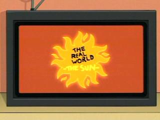 Futurama cartoon Real World spoof of soul on sun burns to death