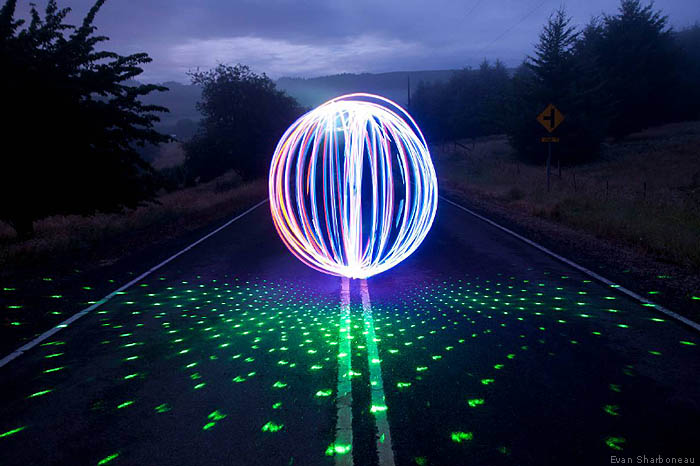 Long exposure image - playing with laser