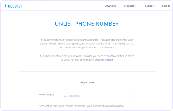 remove our mobile number from truecaller