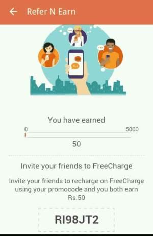 Freecharge se referem e ganham