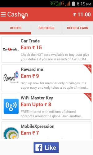 Cashon free recharge app