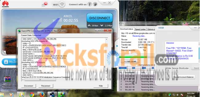 aircel udp free interet  trick