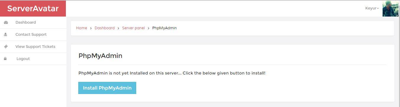 server avatar install php my admin