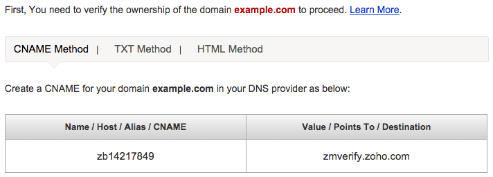 Zoho Domain Verify