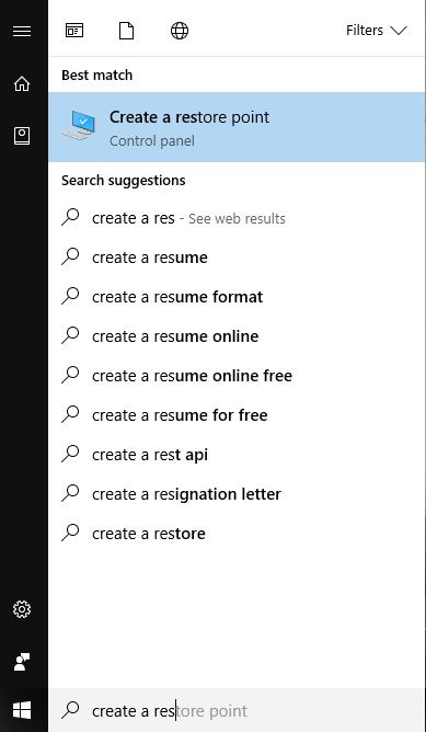 Create Windows Restore Point