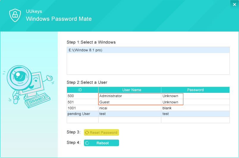 UUKeys Windows Password Mate Reset Password