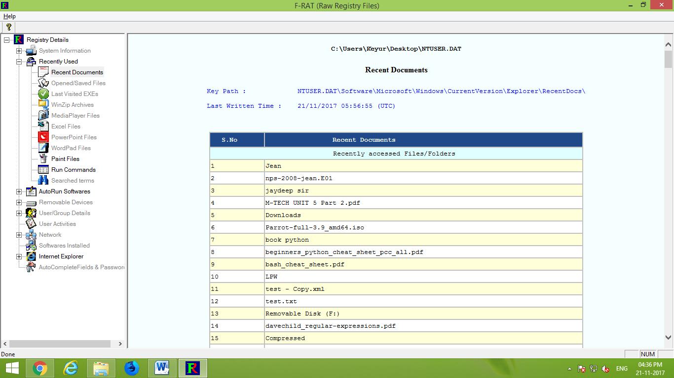 F-rat Registry Viewer