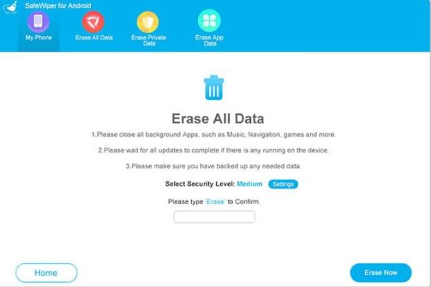 Delete All Data in SafeWiper