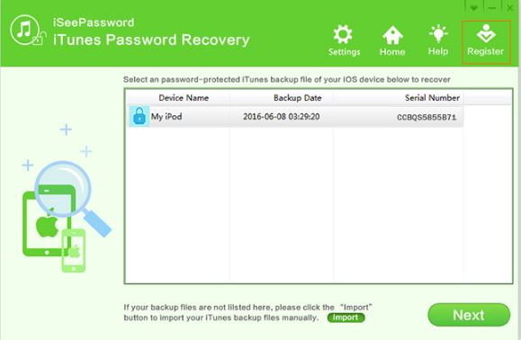 iSeePassword iTunes Password Recovery Registration