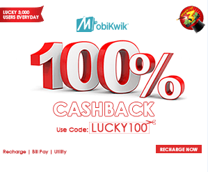 100% Cashback Offer Mobikwik for 600 Lucky Users