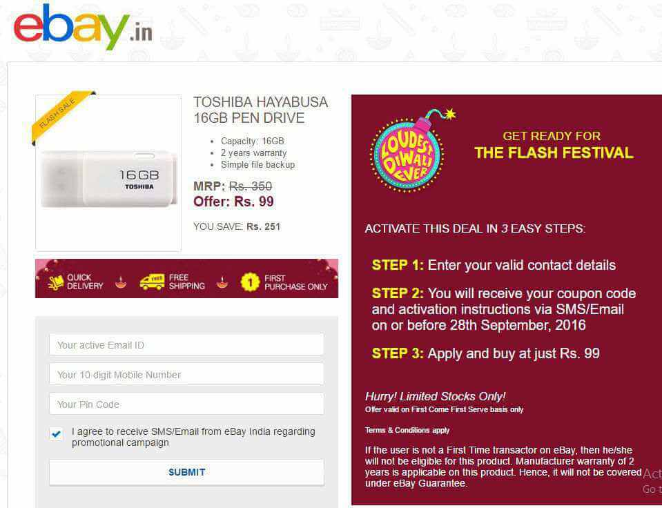 eBay coupons Flat Free Rs 100 off