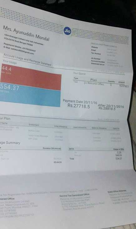 OMG ! Reliance Jio Sends Bill amount Rs. 27718 is Real ?