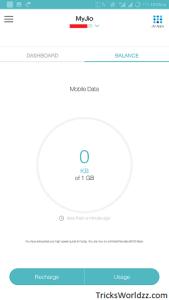Reliance Jio Check remaining free internet high speed data quota.