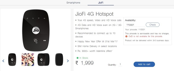 Reliance Jio Jiofi 4G hotspot buy online from Jio.com free home delivery at Just Rs 1999