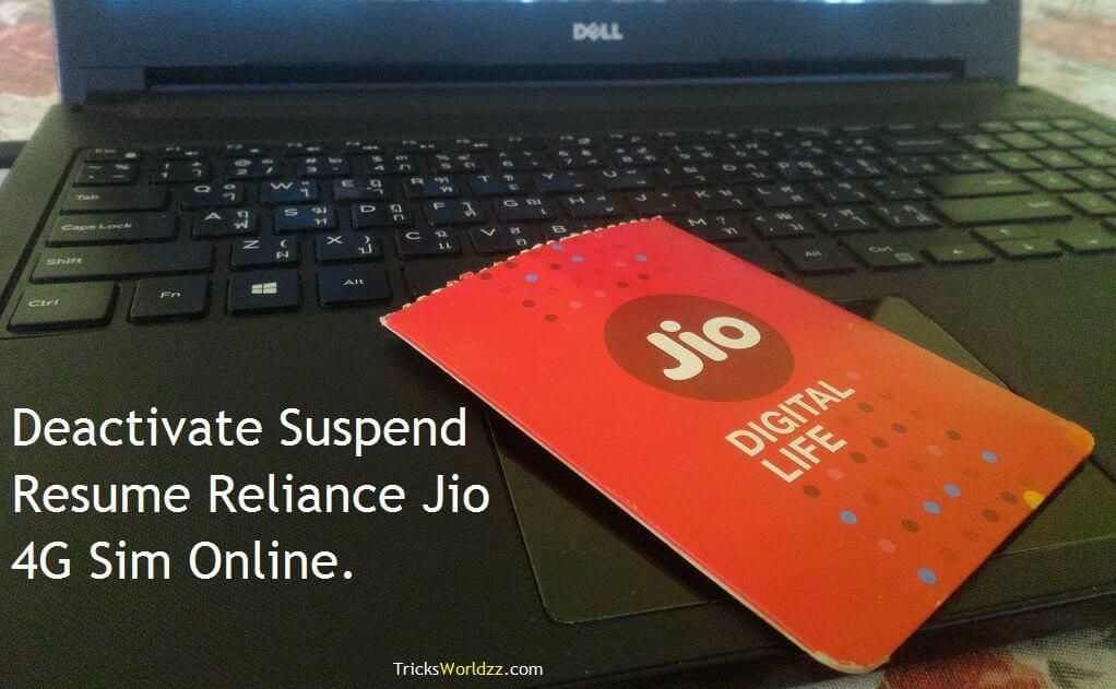 deactivate suspend resume reliance jio 4g sim online