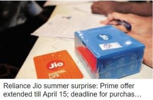 Summer Surprise Jio extends Prime subscription date to April 15th.