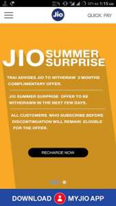 Alert! Jio Summer Surprise is going to Withdrawn