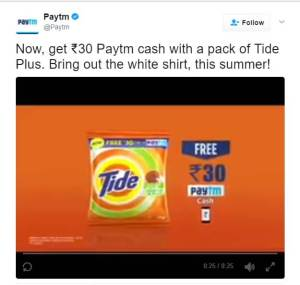 Buy Tide Detergent & Get Free Rs 30 PayTm Coupon