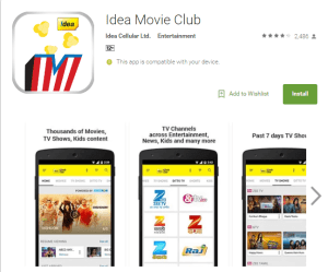 Get 500 MB Free Internet Data Free Idea Movie Club App