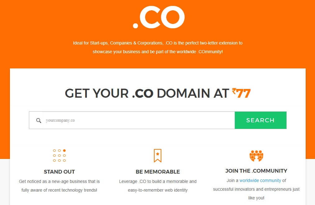 BIGROCK Free Domain Sale Get .co Domain at Rs 77