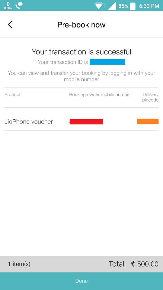 Invoice JioPhone booking