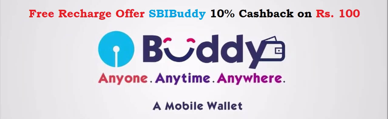 Free Recharge Offer SBIBuddy 10% Cashback on Rs. 100