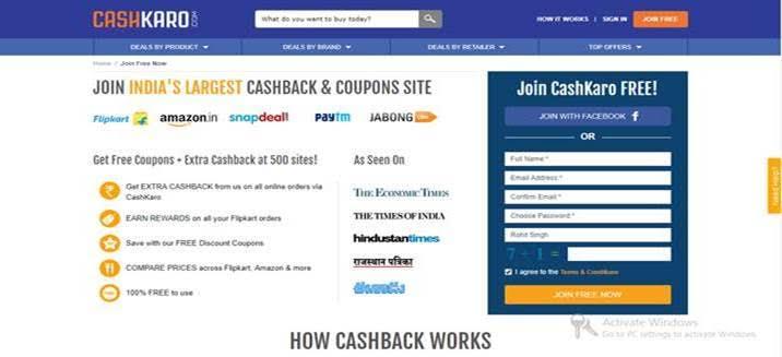 Join Cashkaro Singup