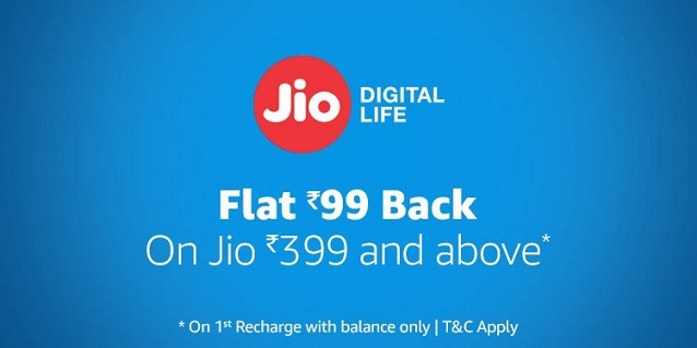 Flat Rs 99 cashback Jio Amazon recharge offer
