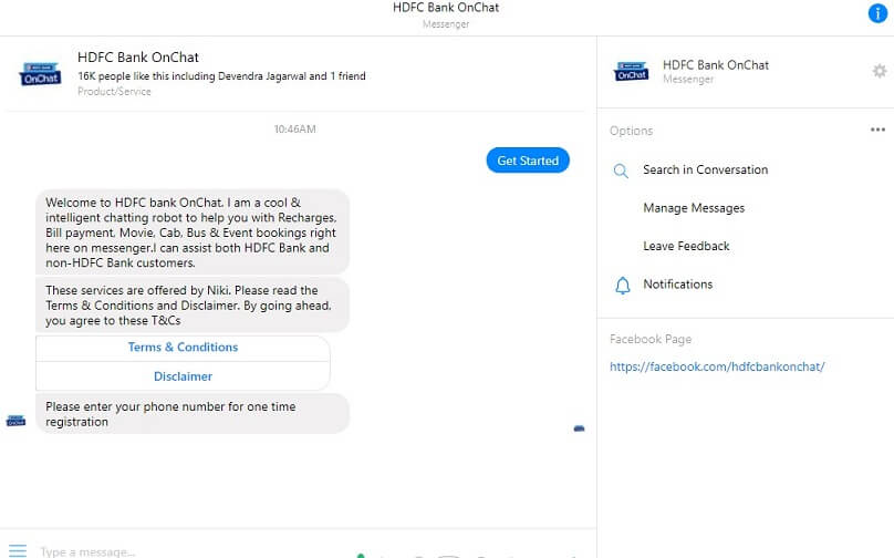 Facebook Messenger HDFC Bank OnChat Get Free Rs 50 Cashback