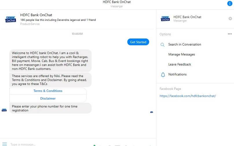 Facebook Messenger HDFC Bank OnChat Get Free Rs 50 Cashback