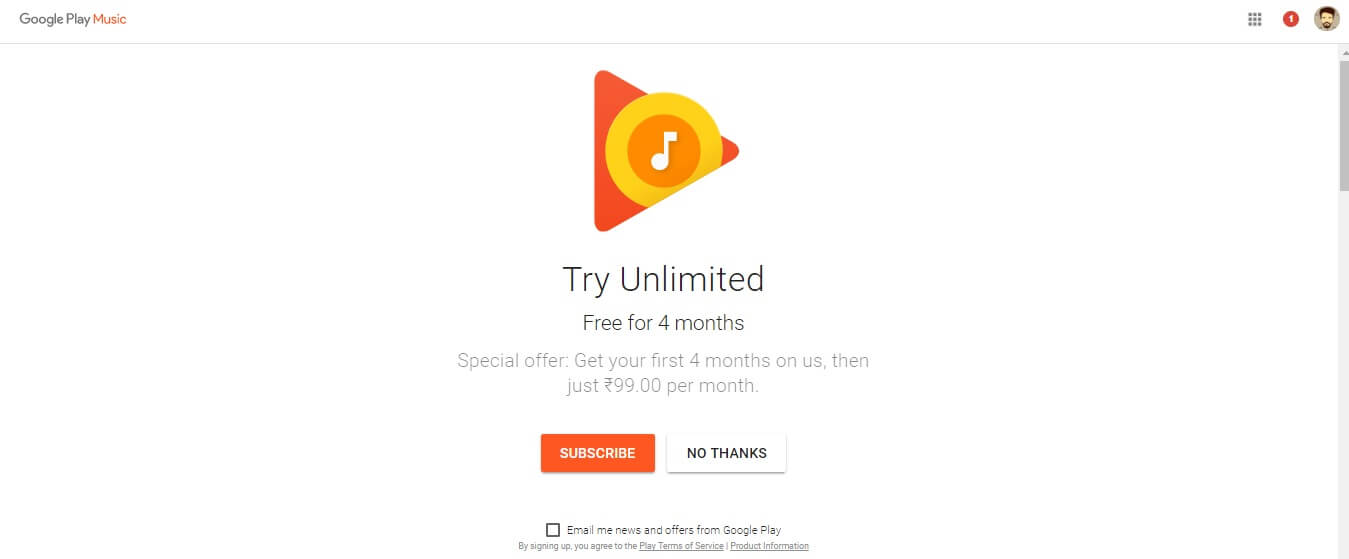 Get Free 4 Months Premium Google Play Music + YouTube Red Subscription