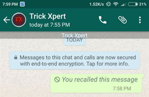 Recall Messages In WhatsApp