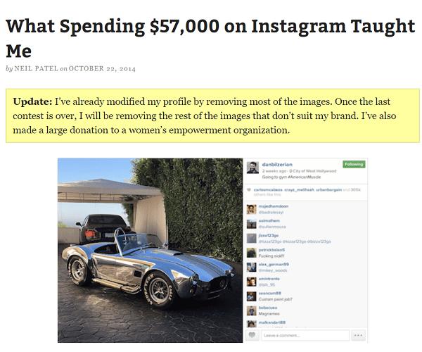 Neil Patel instagram case study