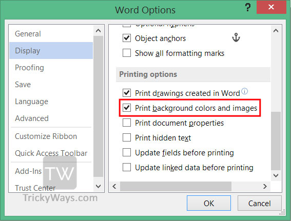 Print Background Color And S In Word
