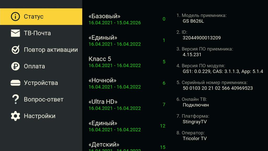 Вид приложения «Личный кабинет» на примере приемника GS В621L после обновления