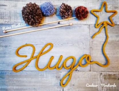 Prénom Hugo au tricotin
