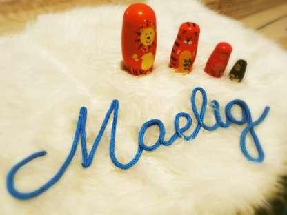 Prénom Maelig au tricotin